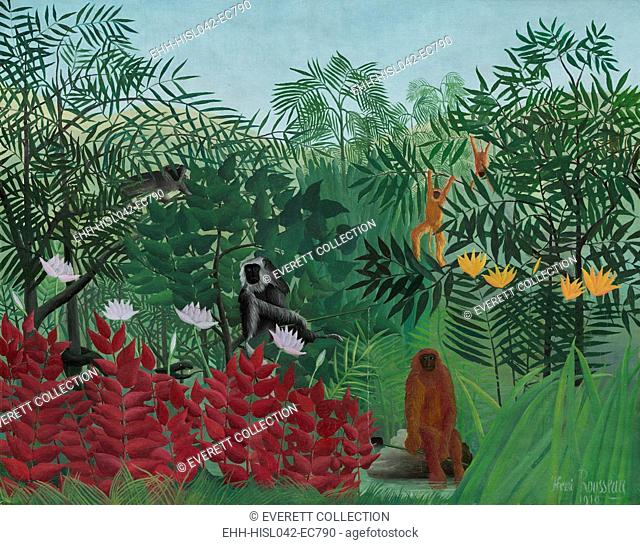 Tropical Forest with Monkeys, by Henri Rousseau, 1910, French painting, oil on canvas. Rousseau exaggerated the size of common plants and flowers