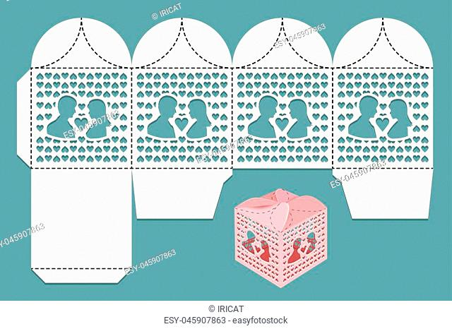 Box for wedding gifts for guests and newlywed. Cutting pattern and view of the assembled box. Vector illustration