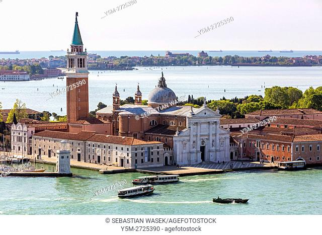 Church of the Santissimo Redentore seen from Campanile di San Marco, Venice, Veneto, Italy, Europe