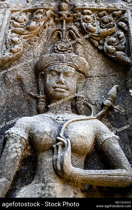 A Bas Relief At Chau Say Tevoda Temple, Angkor Wat Temple Complex, Siem Reap, Cambodia