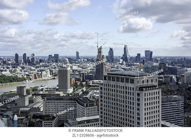 Aerial view of the dowtown London England
