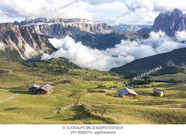 Seceda in a cloudy day, Val Gardena Valley, Dolomites, Trentino Alto Adige District, Italy