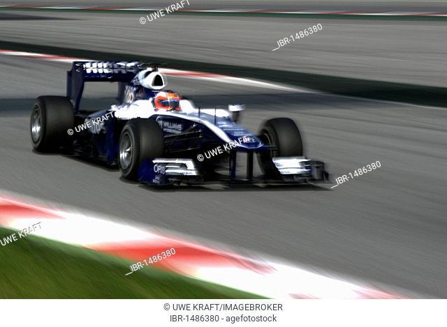 Motorsports, Rubens Barrichello, Brazil, in the Williams FW31 race car, Formula 1 testing at the Circuit de Catalunya race track in Barcelona, Spain, Europe