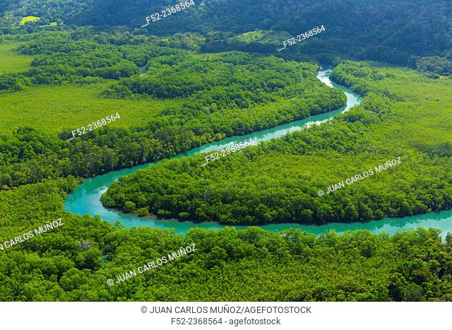 Aerial view of Delta Sierpe River Terraba, Corcovado National Park, Osa Peninsula, Puntarenas Province, Costa Rica, Central America, America