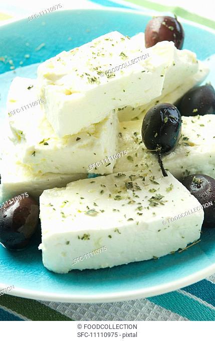 Greek Feta Cheese with Oregano and Kalamata Olives