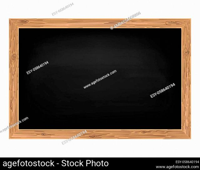 Blackboard with wooden frame, Empty school chalkboard for classroom, rubbed out background, dirty chalkboard, vector