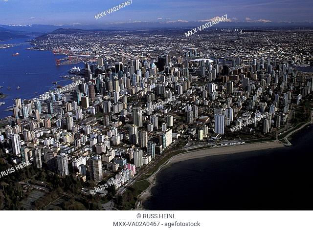 Aerial of Downtown Vancouver, British Columbia, Canada