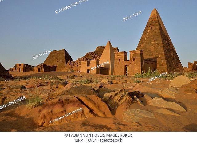 Pyramids of the northern cemetery of Meroe, Nubia, Nahr an-Nil, Sudan