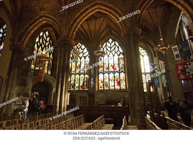Interior of Saint Giles Cathedral, or High Kirk of Edinburgh, Gothic style, XII century, Royal Mile, Lawnmarket, Edinburgh, Scotland, United Kingdom, Europe