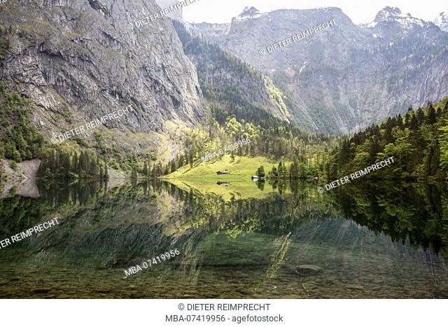 Obersee, Koenigssee, at Berchtesgaden, Upper Bavaria, Bavaria, Germany