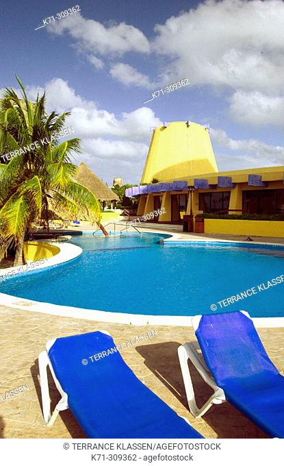 Vacation resort along the west coast in Cozumel. Mexico