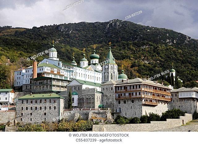 Saint Panteleimon monastery, view from the sea, octahedral belfry, Athos Peninsula, Mount Athos, Chalkidiki, Greece