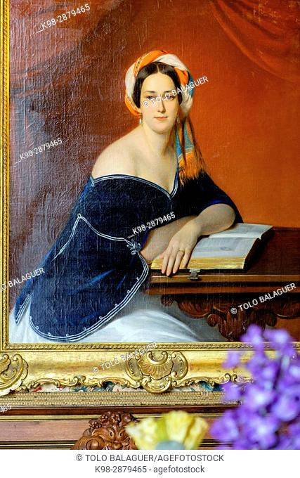 Countess Potocka with turban, Francisco Xavier Winterhalter, Count Branicki 's castle, Montrésor, Indre-et-Loire department. France
