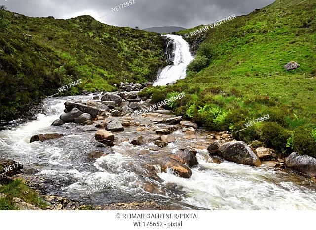 Blackhill or Eas a' Bhradain waterfall on the Allt Coire nam Bruadaram river Scottish Highlands Isle of Skye Scotland UK