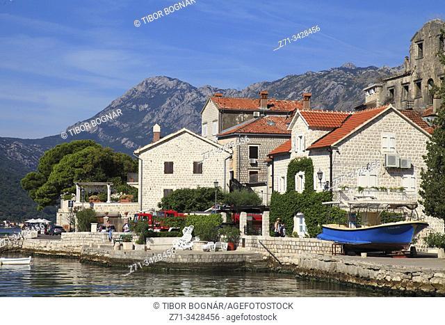 Montenegro, Bay of Kotor, Perast, skyline, general view, historic architecture