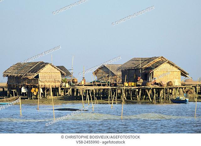 Houses on stilts on Kaladan river, Sittwe (Akyab) region, Rakhine State, Myanmar