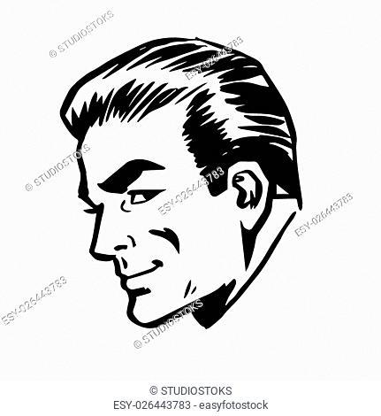 Smiling man head profile face retro line art graphics