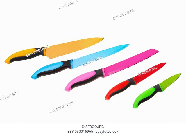Set of multicolored fun for kitchen knives. On a white background