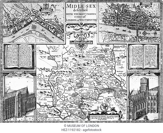 Map of London, Westminster and Middlesex, late 16th-early 17th century. The cities of London and Westminster were two separate centres at the time
