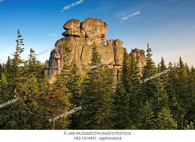Rock formations in Karkonosze National Park, Poland, Europe