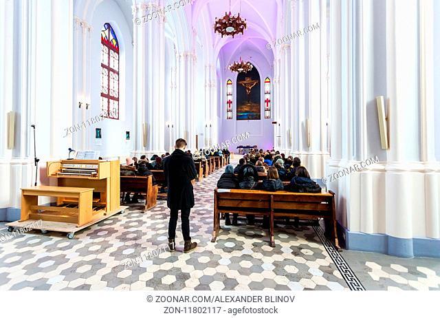 Samara, Russia - February 25, 2018: Interior of Roman Catholic parish of the sacred Heart of Jesus