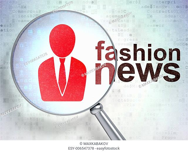 News concept: magnifying optical glass with Business Man icon and Fashion News word on digital background, 3d render