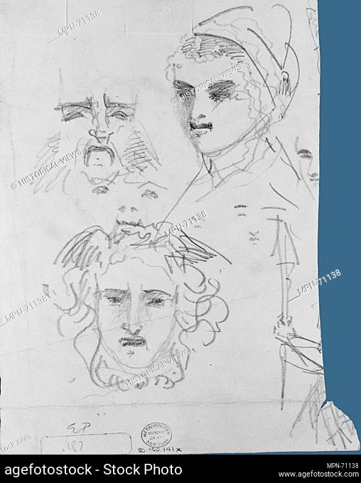 Girl with Parasol, Caricatures. Artist: John Singer Sargent (American, Florence 1856-1925 London); Date: 1871-74; Medium: Pen and ink and graphite on off-white...
