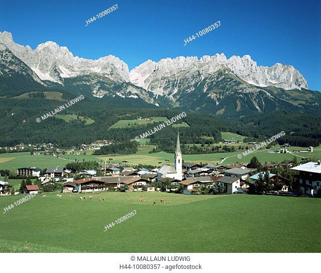 10080357, Ellmau, Austria, Europe, Tyrol, overview, Wilder Kaiser