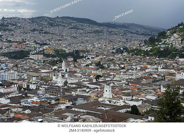 View of the historic center (UNESCO World Heritage Site) of the city of Quito, Ecuador
