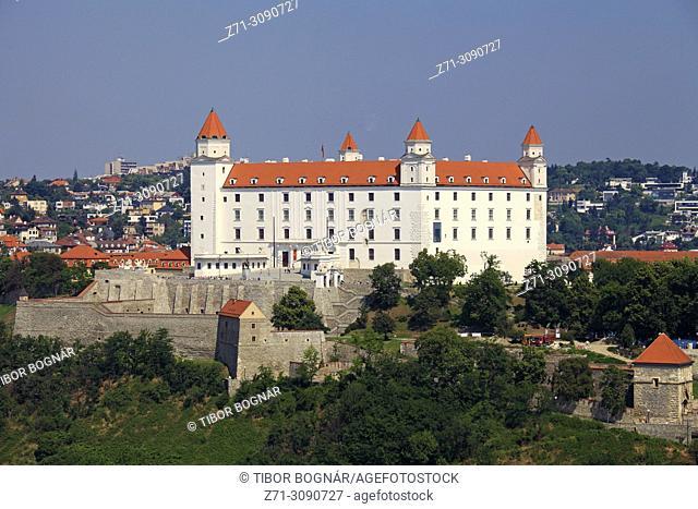 Slovakia, Bratislava, Castle, aerial view,