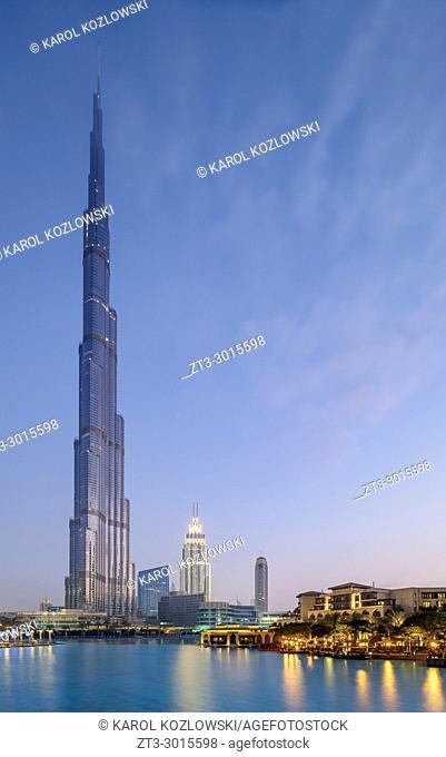 Burj Khalifa Skyscraper at dawn, Downtown, Dubai, United Arab Emirates