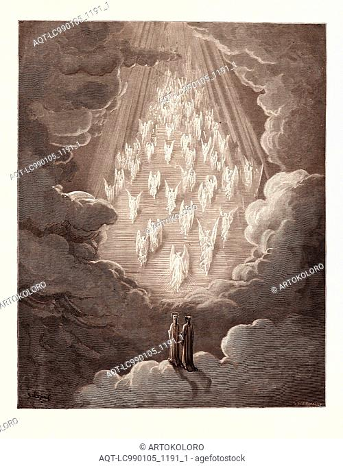 THE VISION OF THE GOLDEN LADDER, BY GUSTAVE DORÉ. Gustave Dore, 1832 - 1883, French. Engraving for the Purgatorio by Dante