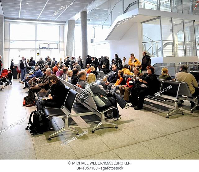 Airline passengers in the waiting area at a boarding gate, Stuttgart Airport, Baden-Wuerttemberg, Germany, Europe