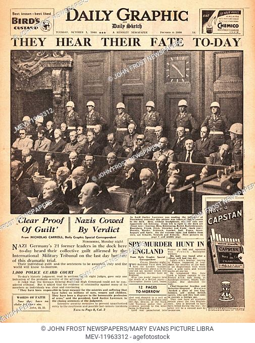 1946 Daily Graphic front page Nazi leaders sentenced to death