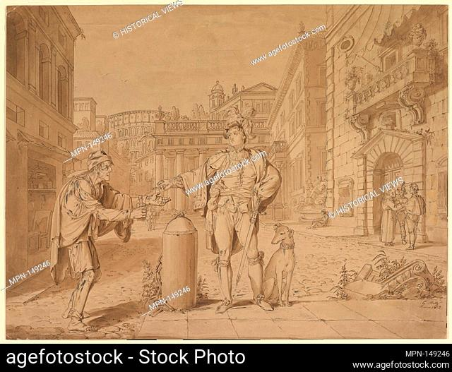 Nobleman Giving Alms to Beggar in Piazza near the Coliseum. Artist: Conrad Martin Metz (German, Bonn 1749-1827 Rome); Date: 1813; Medium: Pen and brown ink with...