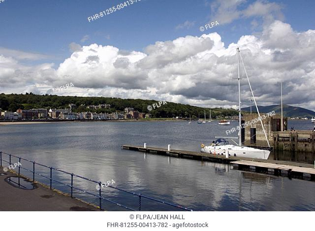 View of jetty and coastal town, Rothesay, Isle of Bute, Argyll and Bute, Scotland, july
