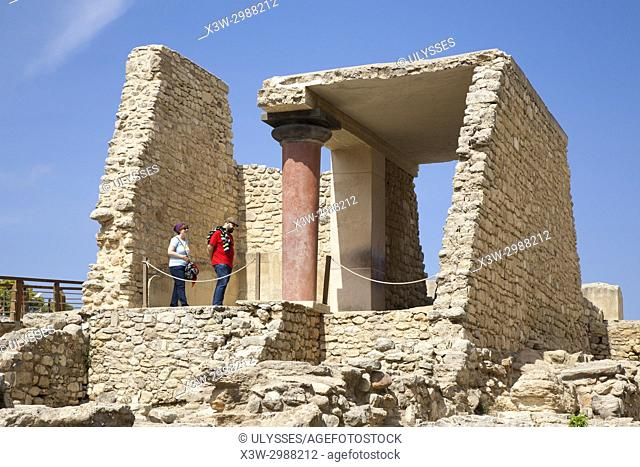 South entrance, corridor with the fresco called Price of the Lilies, Knossos palace archaeological site, Crete island, Greece, Europe