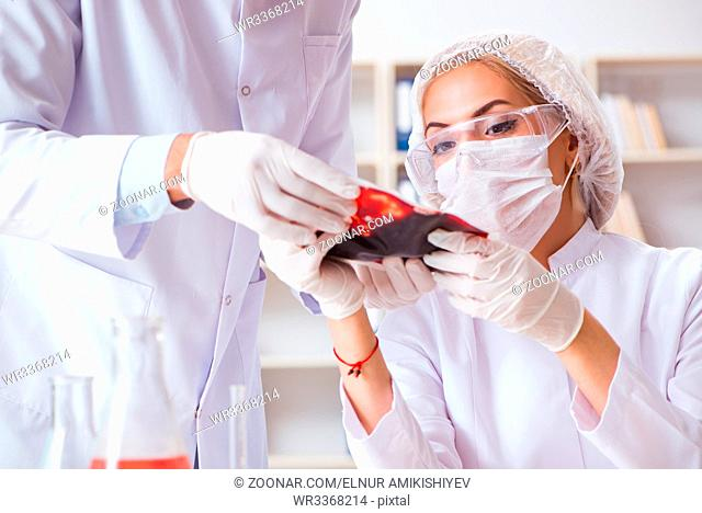 Young female woman doctor in hospital clinic lab