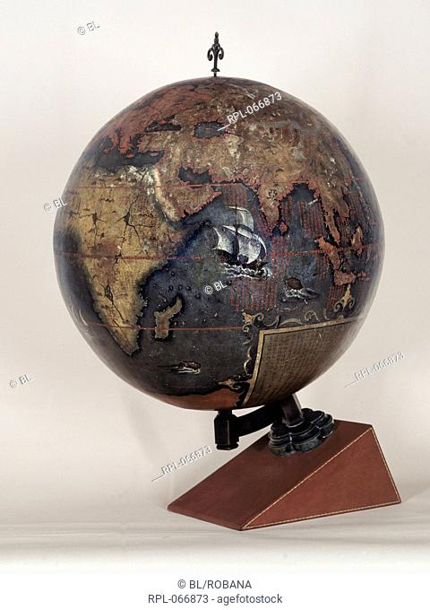 Chinese terrestrial globe. 592mm in diameter, painted in lacquer on wood. Fitted on to modern wooden stand. Image taken from Chinese Terrestrial Globe