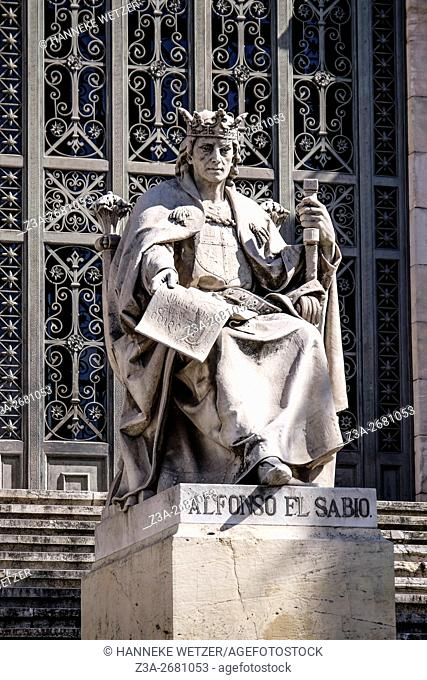 Statue of Alfonso El Sabio in front go the National Archaeological Museum of Spain in Madrid, Spain, Europe