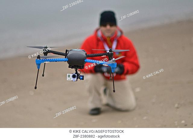 National Geographic Expert and Photographer Kike Calvo flying an Iris+ drone made by 3D Robotics