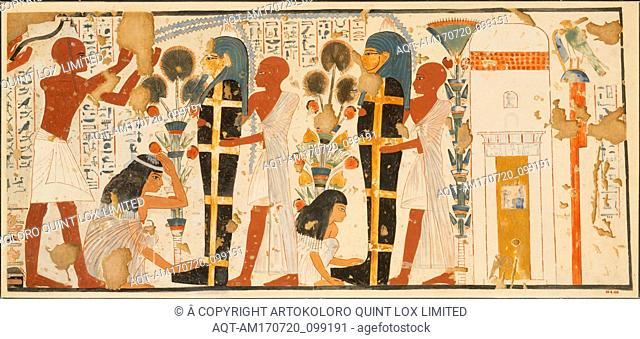 Purifying and Mourning the Dead, Tomb of Nebamun and Ipuky, New Kingdom, Dynasty 18, ca. 1390–1349 B.C., From Egypt, Upper Egypt, Thebes, Tempera on paper