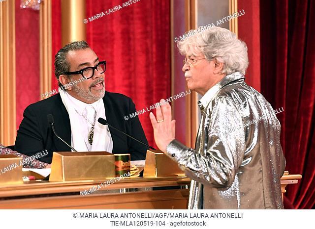 Guillermo Mariotto, Antonio Razzi at the tv show Ballando con le setelle (Dancing with the stars) Rome, ITALY-11-05-2019