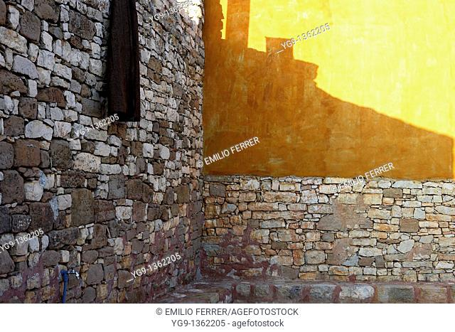 Wall of Stones and Sun Reflection  LLeida  Spain
