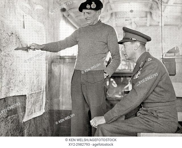 King George VI in the map lorry at Field-Marshal Montgomery's H. Q. in Holland, 1940. Left, Field Marshal Bernard Law Montgomery