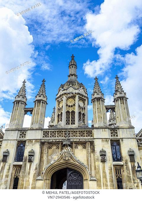 King's College Cambridge gatehouse, Cambridge, England, UK