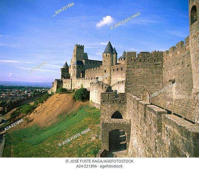 Carcassone, medieval city walls. Languedoc-Roussillon. France