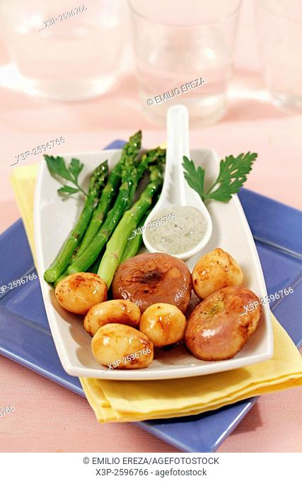 Candied potatoes and turnips with asparagus