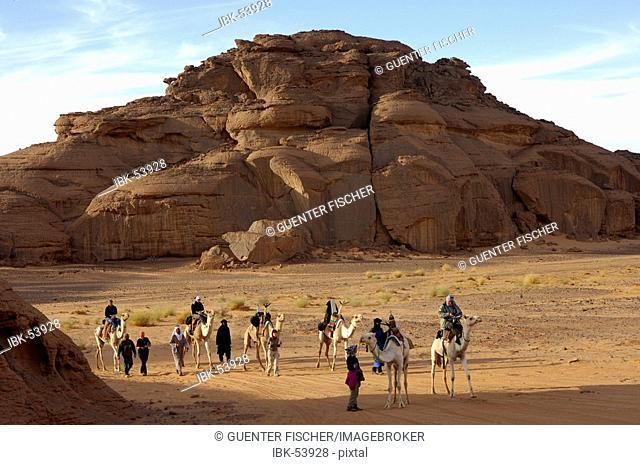 Camel trekking in the Acacus Mountains Libya