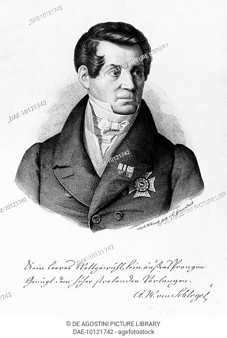 Portrait of August Wilhelm von Schlegel (Hanover, 1767-Bonn, 1845), German writer, translator and literary critic, brother of Friedrich Schlegel
